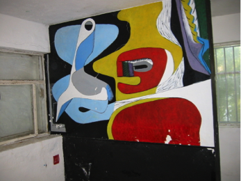 Photo - Murals painted on walls of E-1027 by Le Corbusier (without Gray's permission),1938-1939