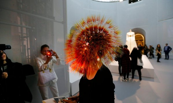 Maiko Takeda wears her Atmospheric Reentry head piece