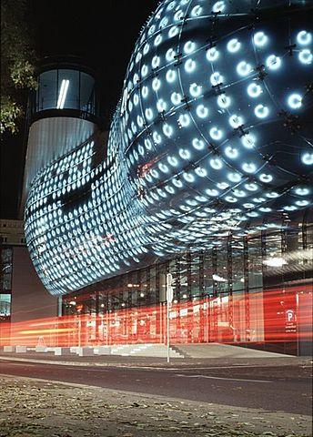 Kunsthaus Graz Art Museum at night