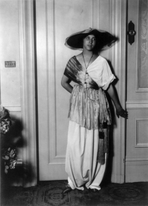 Model Wearing a dress with Tasseled Sash by Paul PoiretPaul_Poiret