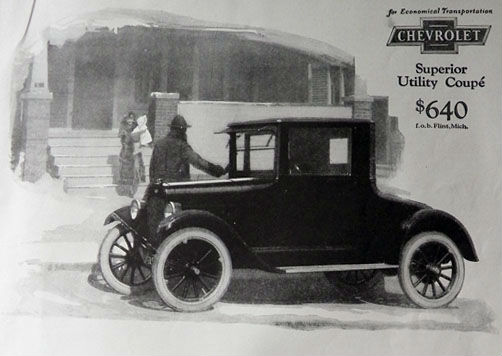 1924 Chevy Utility Coupe Ad - For the Small Family