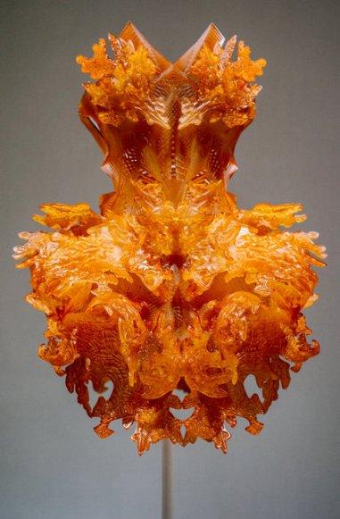 A dress made with a 3-D printer by the Dutch designer Iris van Herpen