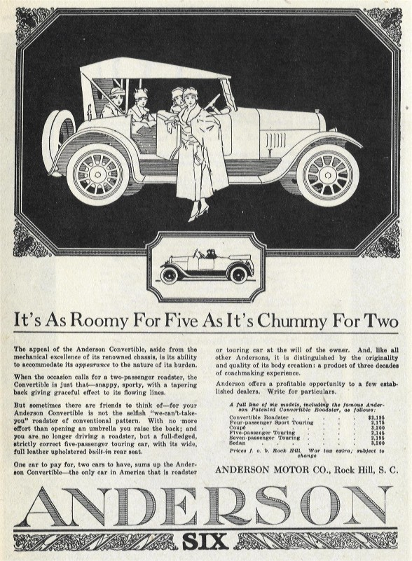 Anderson Touring Car and Roadster circa 1920