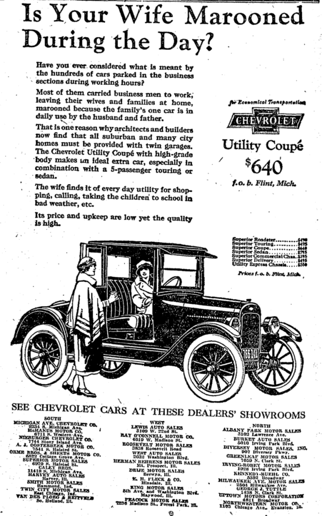 An early advertisement for Chevrolet Utility Coupe circa 1924
