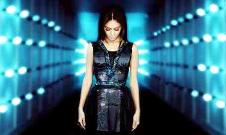 Nicole Scherzinger wears CuteCircuit's Twitter Dress at the launch of EE's 4G mobile network at Battersea Power Station in London