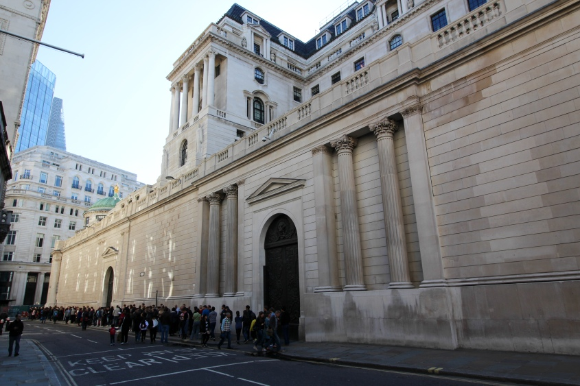Photo of the Bank of England in London.