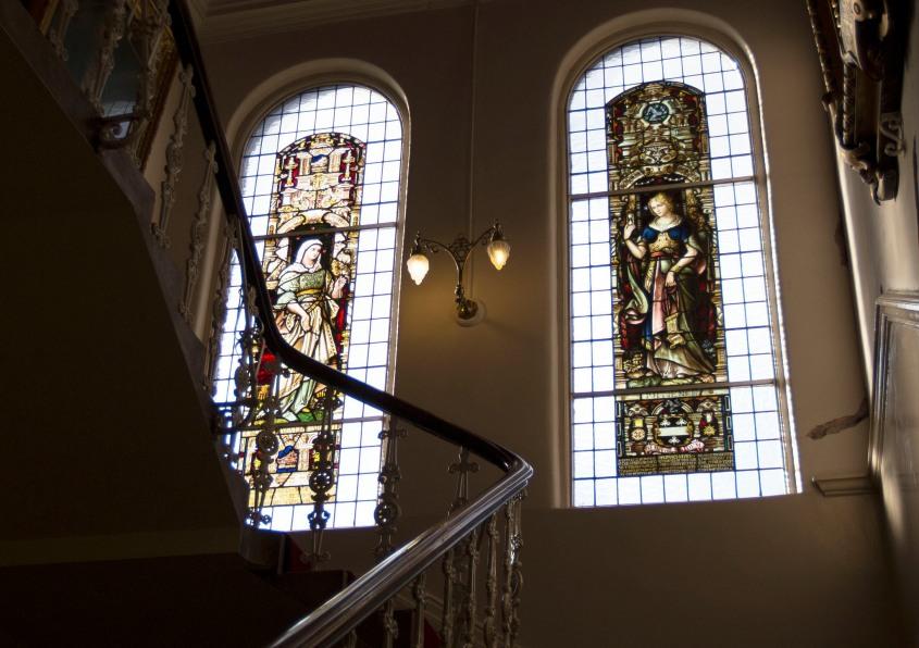 Photo of the Interior of the Freemasons Hall in Dublin.