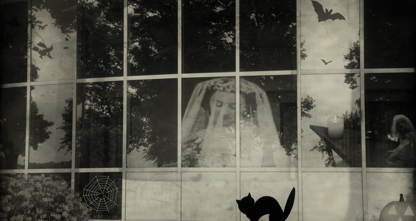 Photo of a Halloween scene wth a ghost, black cat and carved pumpkin