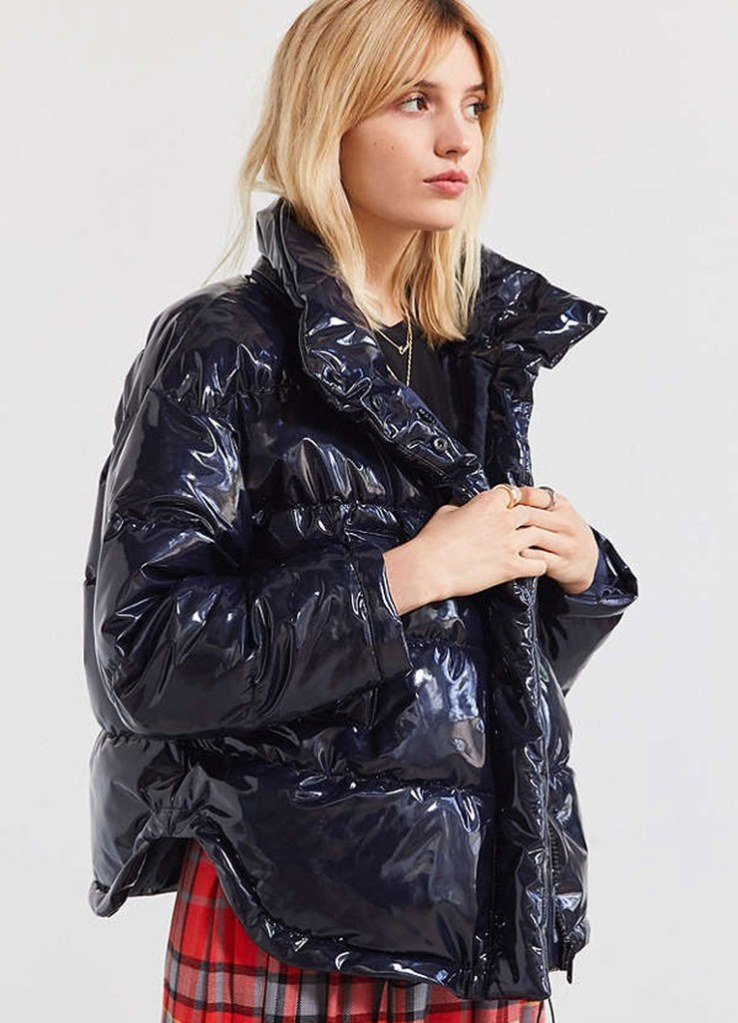 Light Before Dark Ramola wet-look puffer jacket
